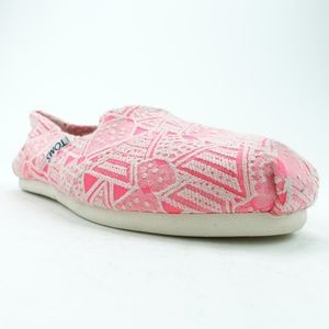 Toms Women Slip On Flats Pink Neon Tribal R9S10